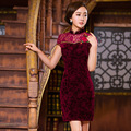 TIC-TEC chinese cheongsam short qipao women red velvet lace embroidery tradicional elegant party oriental dresses clothes P3103