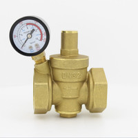 DN32 Brass Water Pressure Reducing Valve 1 1/4 Adjustable Valves With Pressure Gauge Meter Adjustable Relief Valve