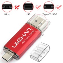 LEIZHAN 2pcs USB Flash Drive 128GB Type-C Pendrive 16GB Wholesale 32GB USB 3.0 Pen drive 64GB USB C Memory Stick Picture Stick leizhan otg usb stick type c pen drive 256gb 128gb 64gb 32gb 16gb usb flash drive 3 0 high speed pendrive for type c device usb