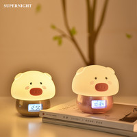 Cartoon Pig LED Night Light with Alarm Clock Recorder Remote Touch Sensor Colorful USB Silicone Bedside Lamp for Children Kids