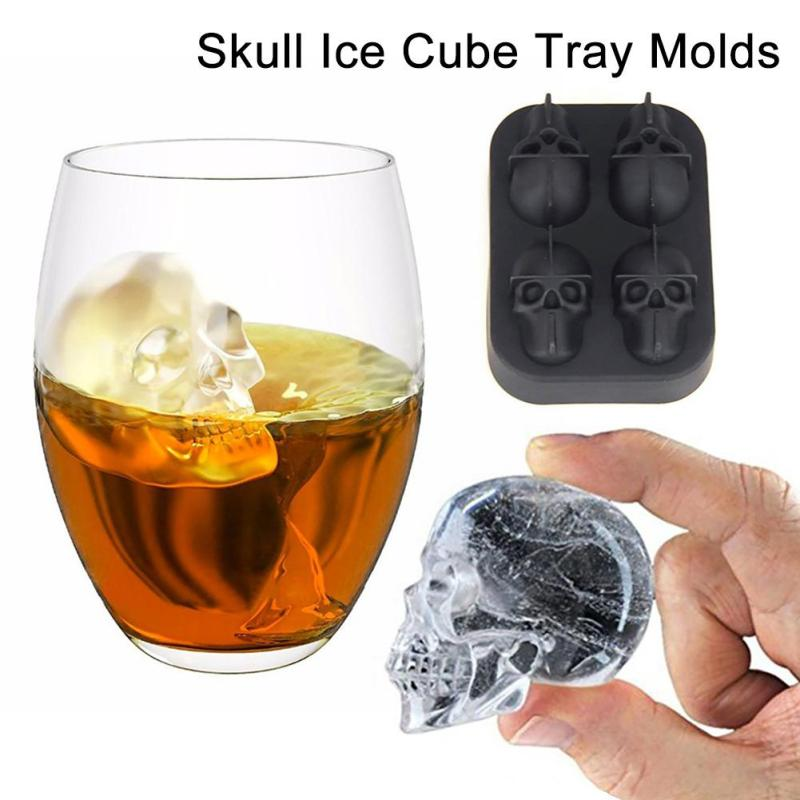 1Pc Silicone Bones Skull Ice Cube Mold Kitchen Chocolate Tray Silicone Cake Candy Mould Cooking Tools #R