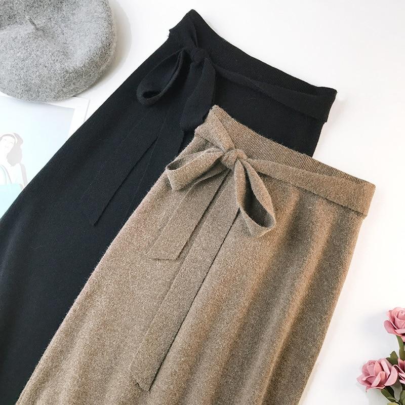 344 water velvet knit skirt women 2018 autumn and winter new women's long section high waist bag hip split A skirts 3
