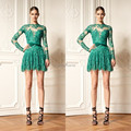 High Neck See Through Sheer Illusion Long Sleeve Bow Belt Emerald Green Lace Short Sexy Cocktail Dress 2016 prom Dresses