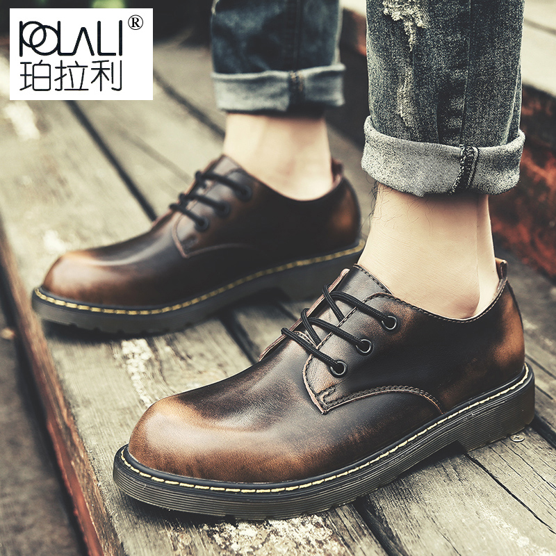 POLALI Brand Handmade Breathable Men's Oxford Shoes Top Quality Dress Shoes Men Flats Fashion Genuine Leather Casual Men Shoes