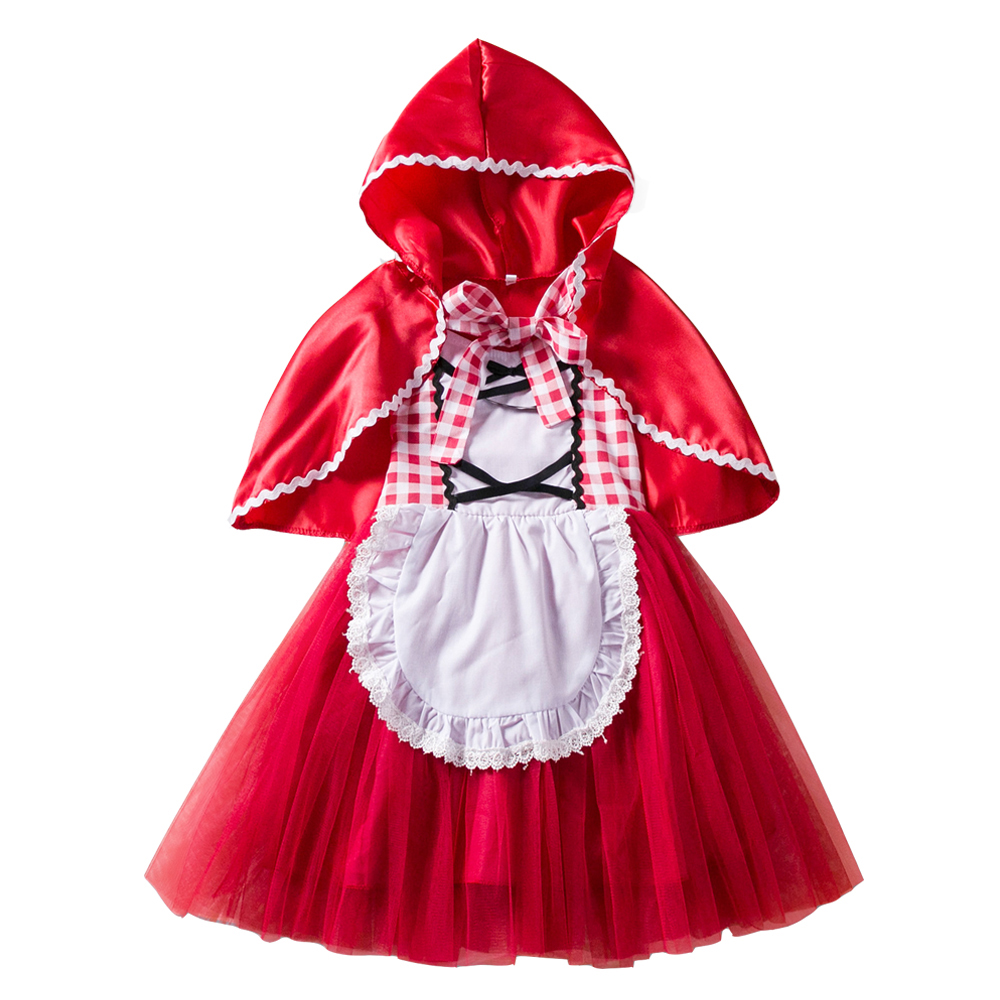 Little Red Riding Hood Costume Cape Dress up Halloween Costumes For Girls Princess Tutu Kids Christmas Cosplay Fancy Vestido