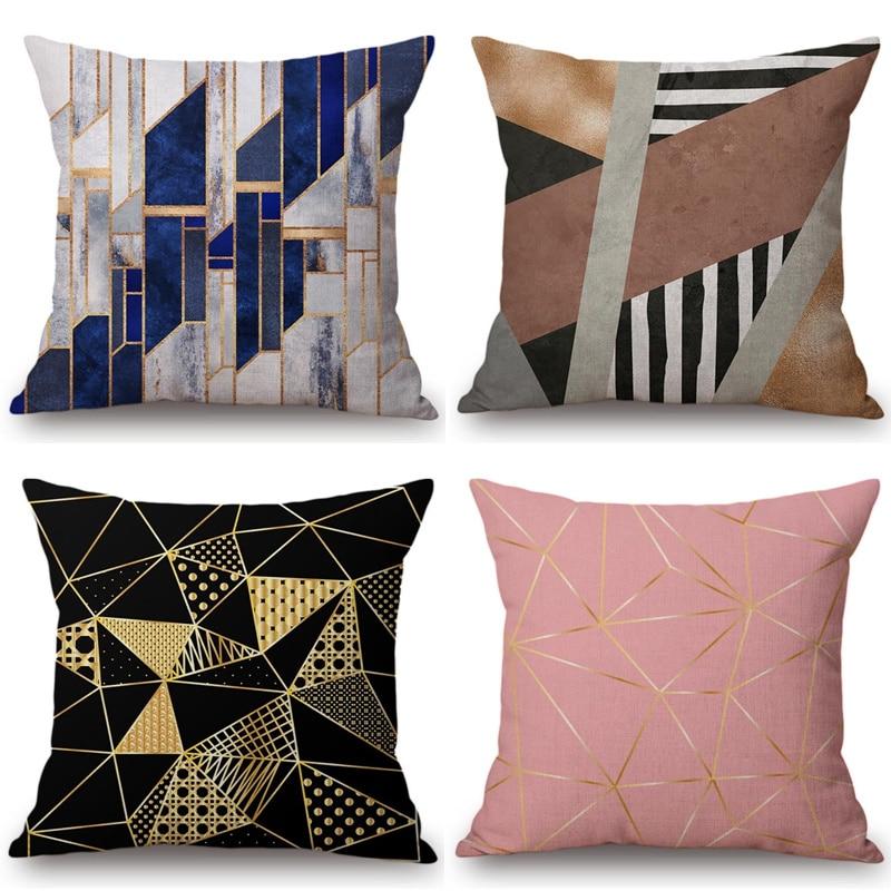 Vintage European Black Pink Yellow Geometric Sofa Throw Pillow Case Diamond Stone Triangles Cushion Cover Home Decor 45x45cm