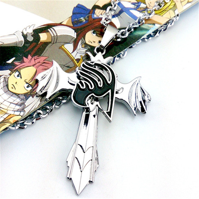 Fairy Tail Guild Marks Silver Cross Wing Pendant Necklace