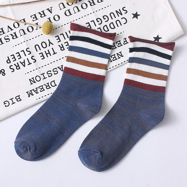 Women Socks Japanese New Colorful Stripes Color Matching Ladies Cotton Middle Tube Sock Fashion Street Wild Calcetines 2
