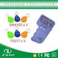 Cartões de IDENTIFICAÇÃO 125 KHz RFID Copiadora Escritor Leitor portátil Handheld Keyfobs T5577 duplicador + 5 x E 5 x EM4305 keyfobs
