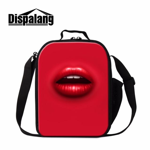 Dispalang novo design sexy lábios vermelhos impressão térmica almoço duplas saco para as mulheres portátil piquenique alimentos lancheira para a escola saco