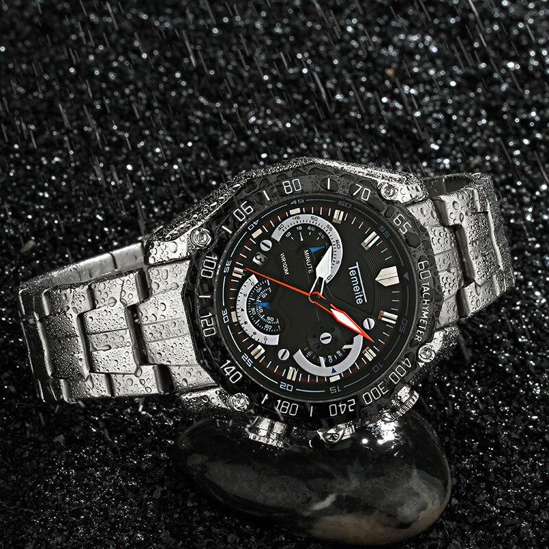 TEMEITE Fashion Multifunction Waterproof Watches Men Full Steel 3 Sub-dials 6 Hands Calendar Chronograph Clock Top Brand Luxury