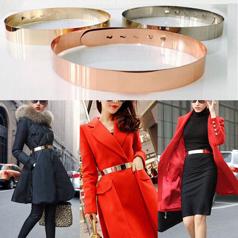2018 Brand New Women Adjustable Metal Waist Belt Metallic Bling Gold Plate slim Simple Belt