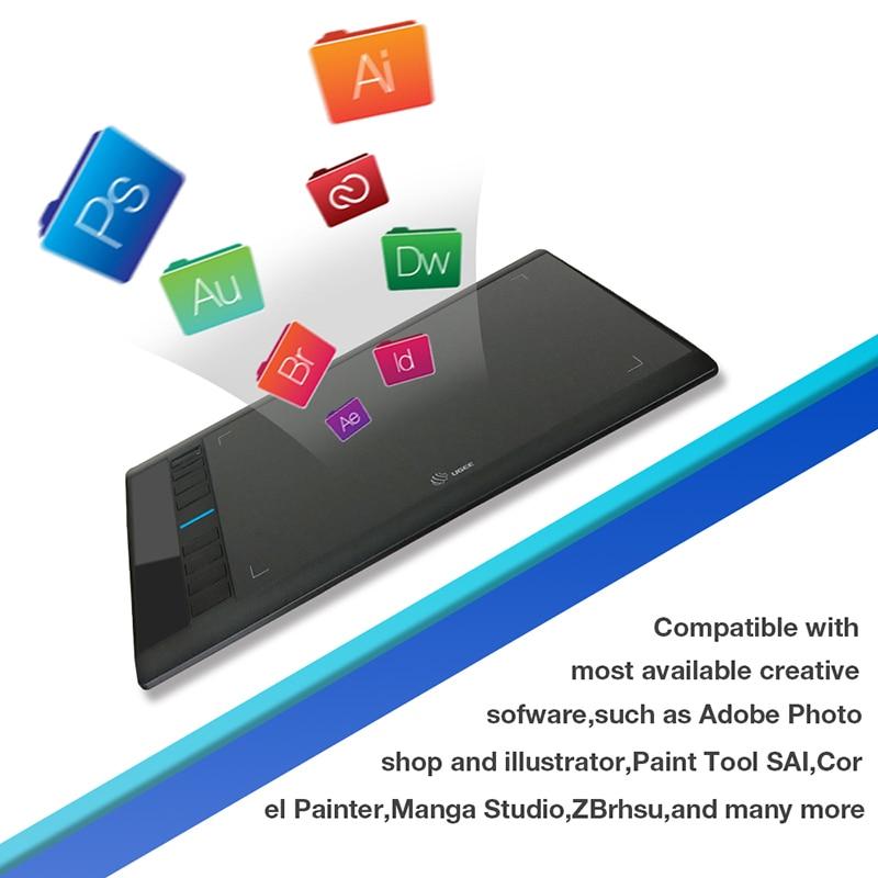Ugee M708 V2 tablette graphique numérique pour dessin 10x6 pouces tablette de peinture 8192 niveau tablette graphique avec stylo sans batterie - 5