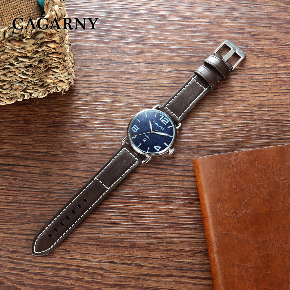 classic design high quality quartz watch men japaness movement genuine leather strap mens watches drop shipping (1)