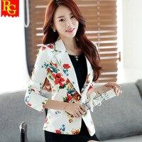 Women Floral Blazer Jacket 2017 New Casual Female Suit Ladies One Button Slim Suit Coat Jacket