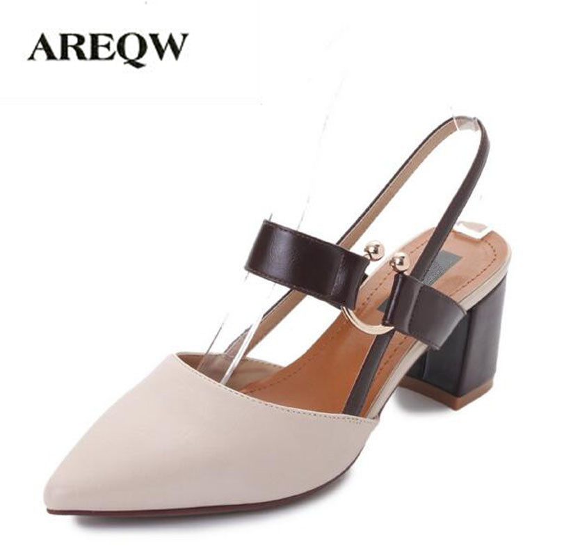 AREQW 2017 spring and summer new sandals women thick heels pointed head shoes women back empty belt buckle high heels 2016 spring new european and american fashion shoes thick with fish head shoes nightclub new ultra high heels sandals b454