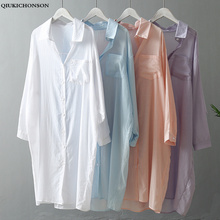 Camisa de verano transparente de talla grande para mujer, camisa Coreana de moda informal a rayas con bolsillos manga larga de murciélago, blusa blanca para mujer