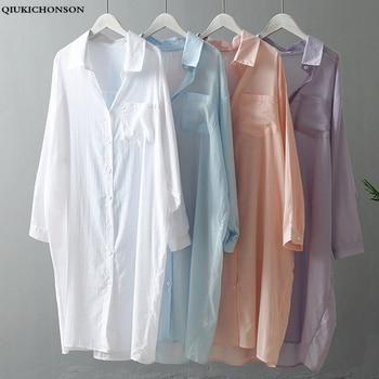 цена на See-through Plus Size Women Summer Long Shirt Korean Fashion Casual Striped Pocket Long Batwing Sleeve Women White Blouses Shirt