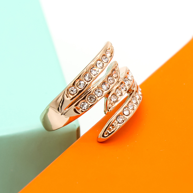 Rose Gold Austria Crystal Ring For Women Wings Feather Zricon Bride Fashion Wedding Jewelry