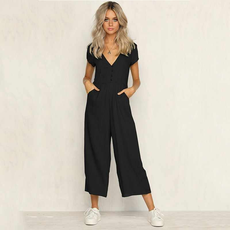GUMPRUN  2019 Women Sexy V-neck Short-Sleeved White Casual Jumpsuit Women's Fashion Button Jumpsuit HafuFemale Loose Jumpsuit
