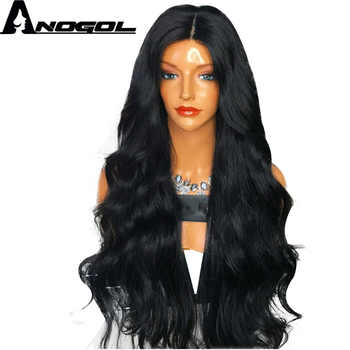 Anogol Brand New 180% density High Temperature Fiber Wigs Peurca 1B Long Body Wave Synthetic Lace Front Wig For Black Women - Category 🛒 Hair Extensions & Wigs