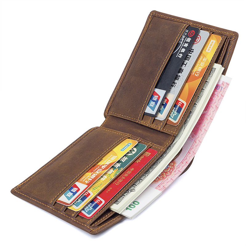 Crazy Horse Real Leather Mens Wallets folds Wallet Card Holder Multi Pockets Credit Cards Purse Male Simple Design onlvan mens wallet crazy horse genuine leather cowhide cover coin purse man vintage male credit id multifunctional wallets