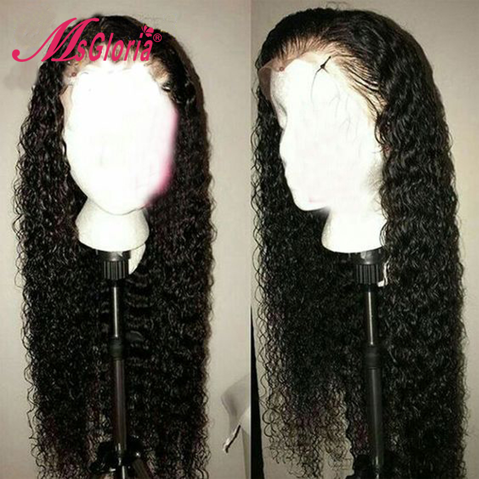 Curly Lace Front Human Hair Wigs Glueless For Black Women Brazilian Remy Human Hair Bleached Knots