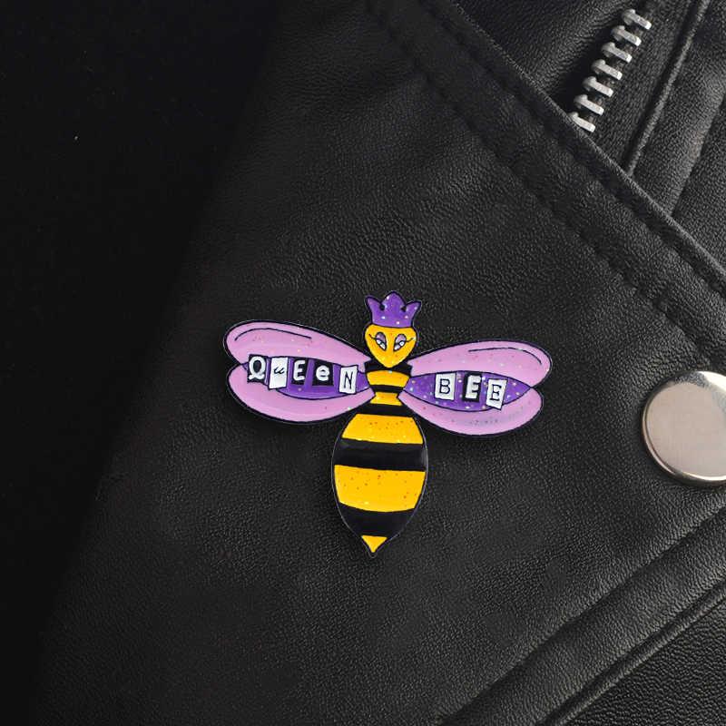 Брошь в форме пчелы для девочек с изображением королевы, фиолетовая Корона, блестящая пчелиная матка нагрудный знак брошь, джинсовая рубашка, рюкзак, аксессуары