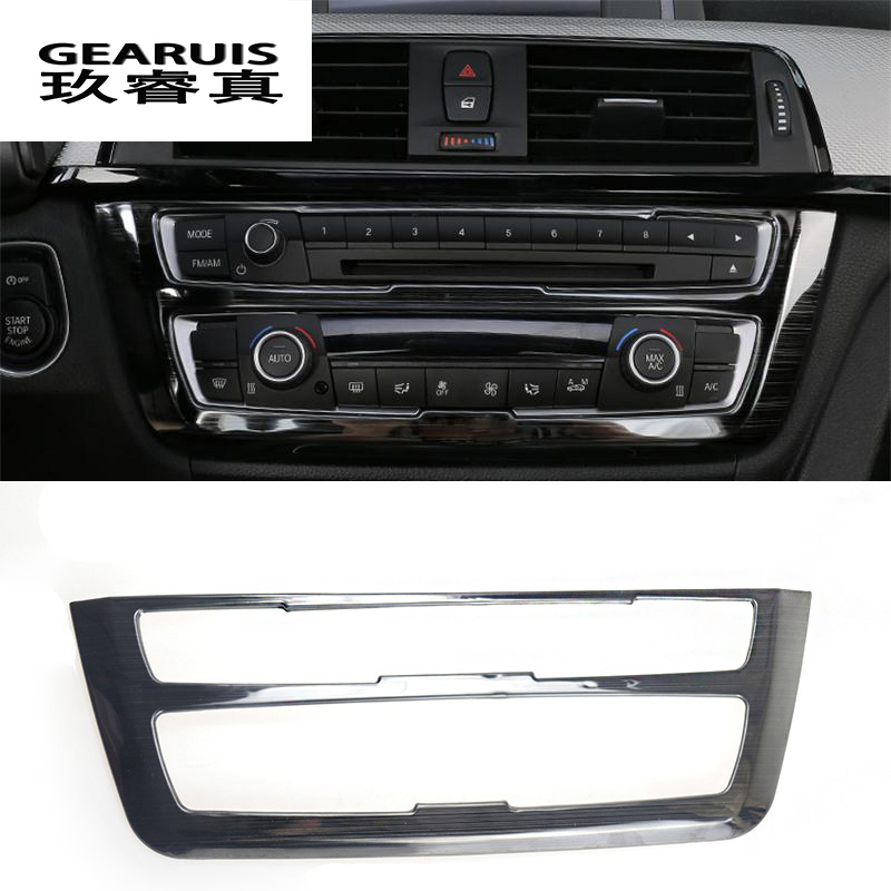 Car Styling Air Conditioning CD Panel stainless steel Covers Stickers Trim for <font><b>BMW</b></font> F30 F34 <font><b>3</b></font> <font><b>series</b></font> <font><b>GT</b></font> Auto Interior Accessories image