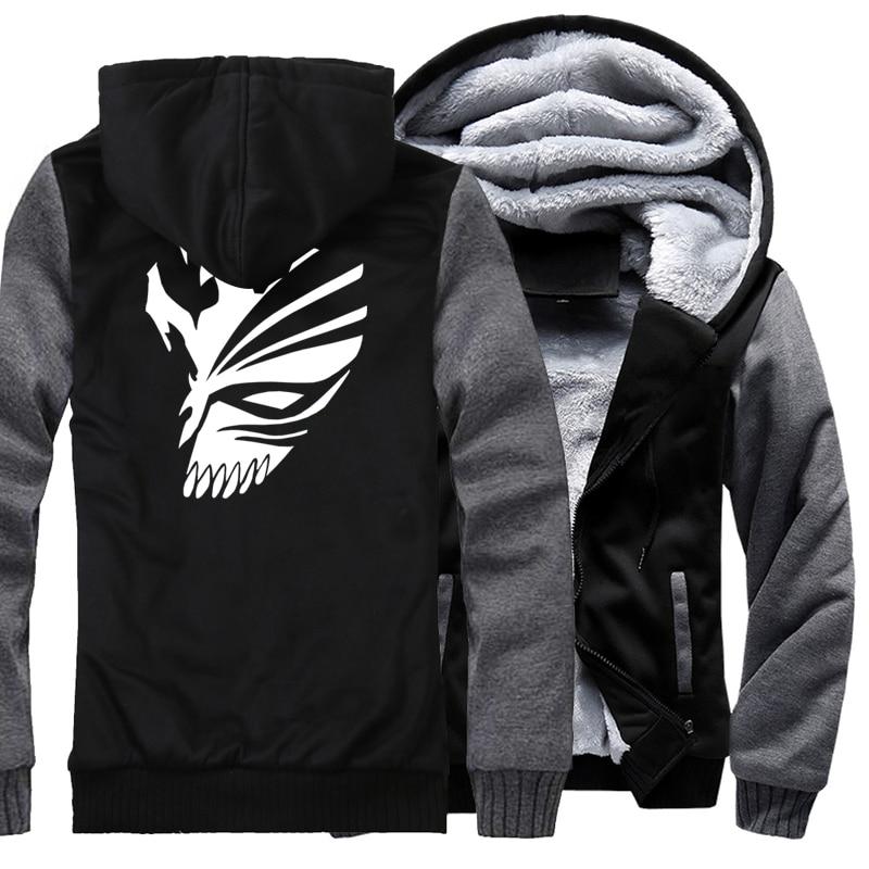 BLEACH Kurosaki Ichigo Print Hip Hop Streetwear Hoody 2017 Winter Fleece Brand Clothing Thick Hoodies Jackets Men Tracksuit Kpop