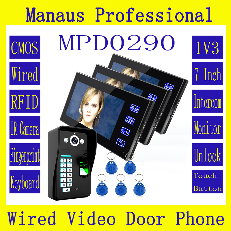 Three 7 Inch Lcd Touch Key RFID Monitor + HD 1000 TVL IR Camera Fingerprint Recognition Video Door Phone Intercom System D290a jeruan home 7 video door phone intercom system kit rfid waterproof touch key password keypad camera remote control in stock