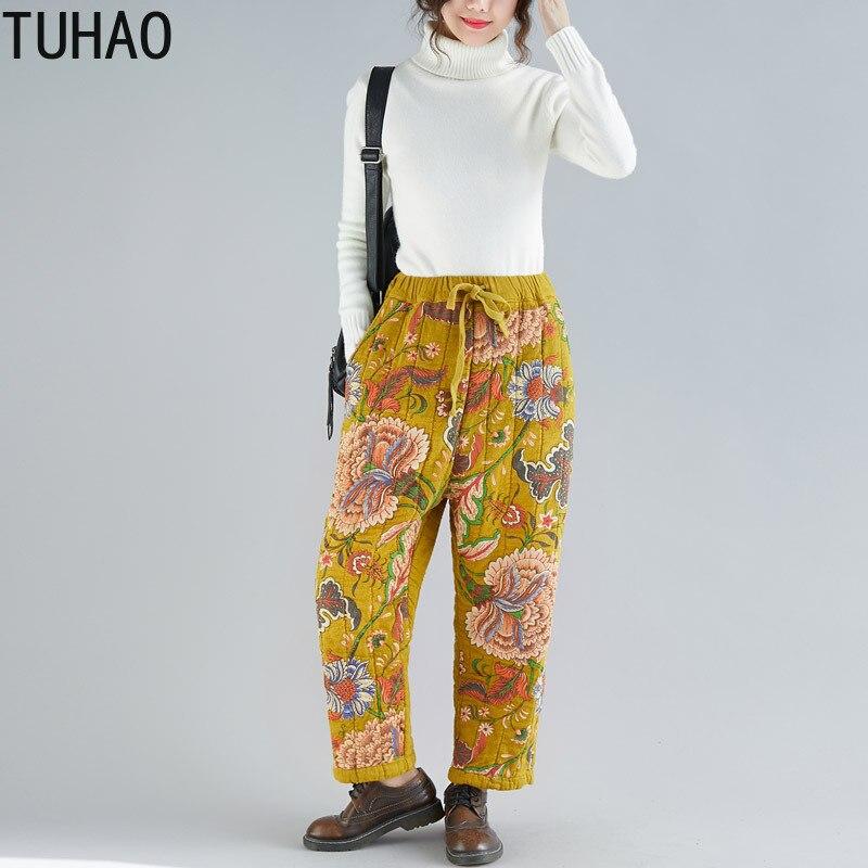 No Pantalon Hiver no 3 Femme Épais Femmes no Coton Chaud Automne no 6 1 Floral 2019 Croix no Imprimé 5 Llj 4 Haute 2 Tuhao Vintage Harem Taille no E0pTwn