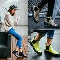 Fashion rain boots female short water shoes female adult rainboots overstrung slip-resistant low plus velvet flat heel overshoes
