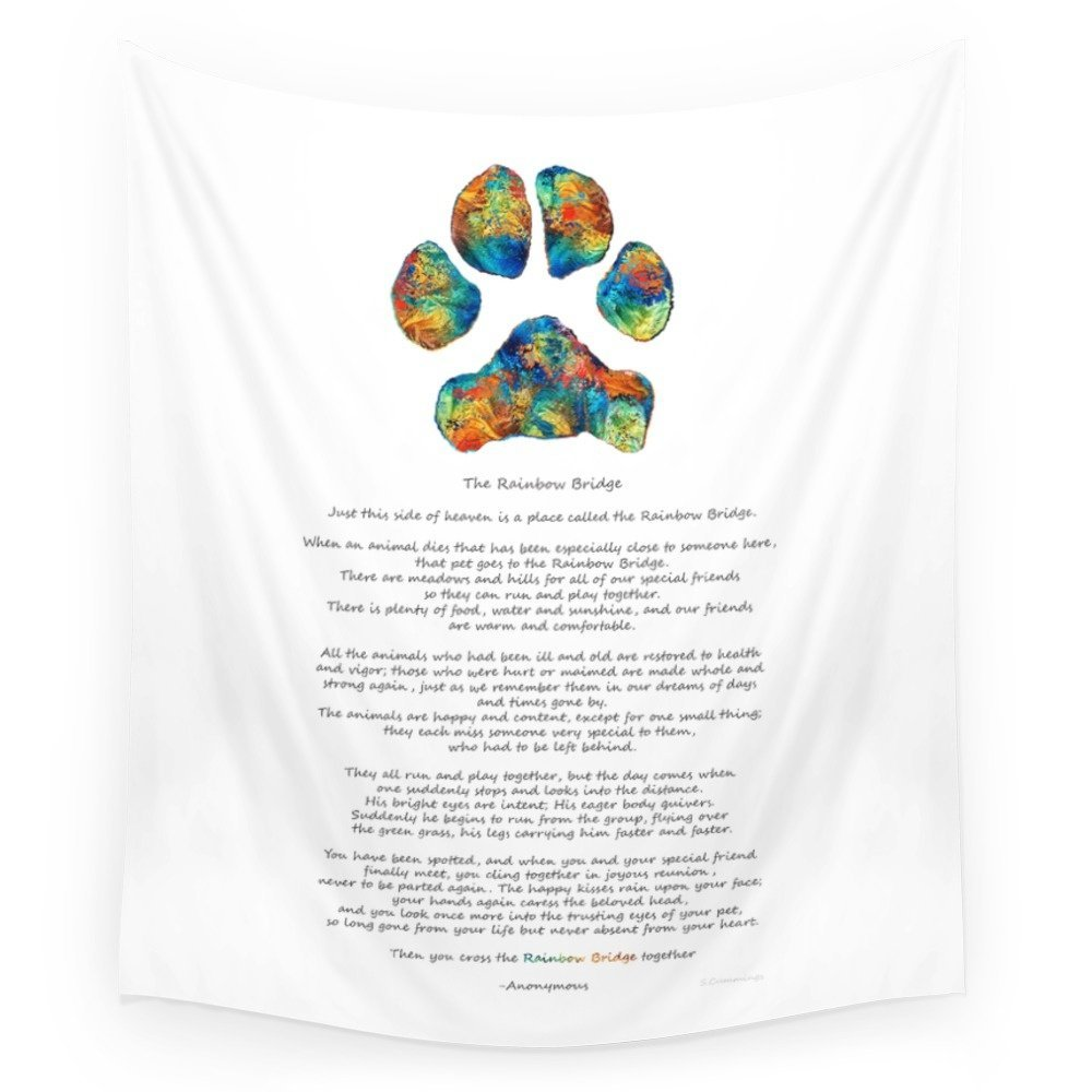 Us 1756 30 Offrainbow Bridge Poem With Colorful Paw Print By Sharon Cummings Wall Tapestry Beach Towel Polyester Blanket Yoga Shawl Mat In