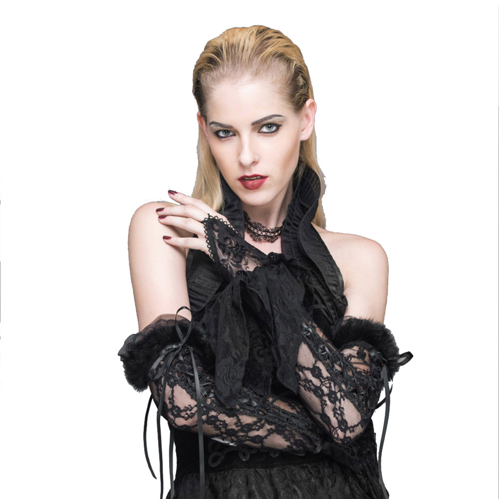 Devil Fashion Ladies Lace Arm Warmers For Evening Party Winter Black Arm Warmer Fingerless Ribbons Lace-Up Arm Sleeves GE009