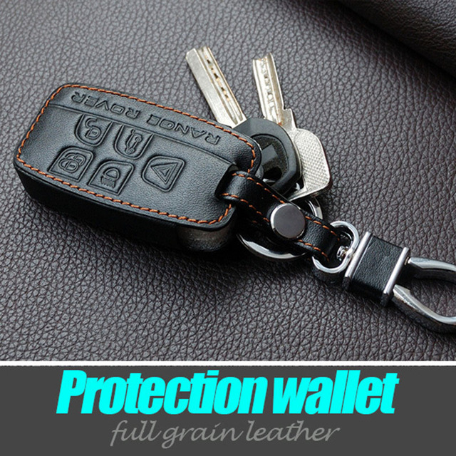 Leather Car Key Cover Case Bag Wallet Key Rings For Landrover A9 Range Rover Freelander Evoque Discovery Interior Accessories