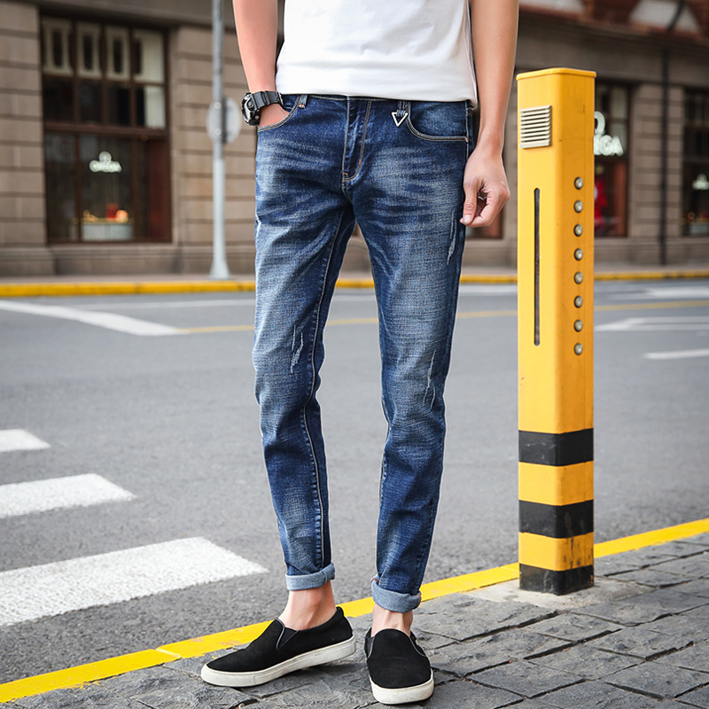 Mens Four Seasons Teenager Scratched Nine Jeans Male Fashion Stretch Ankle-Length Pants Men Casual Slim Cotton Denim Trousers