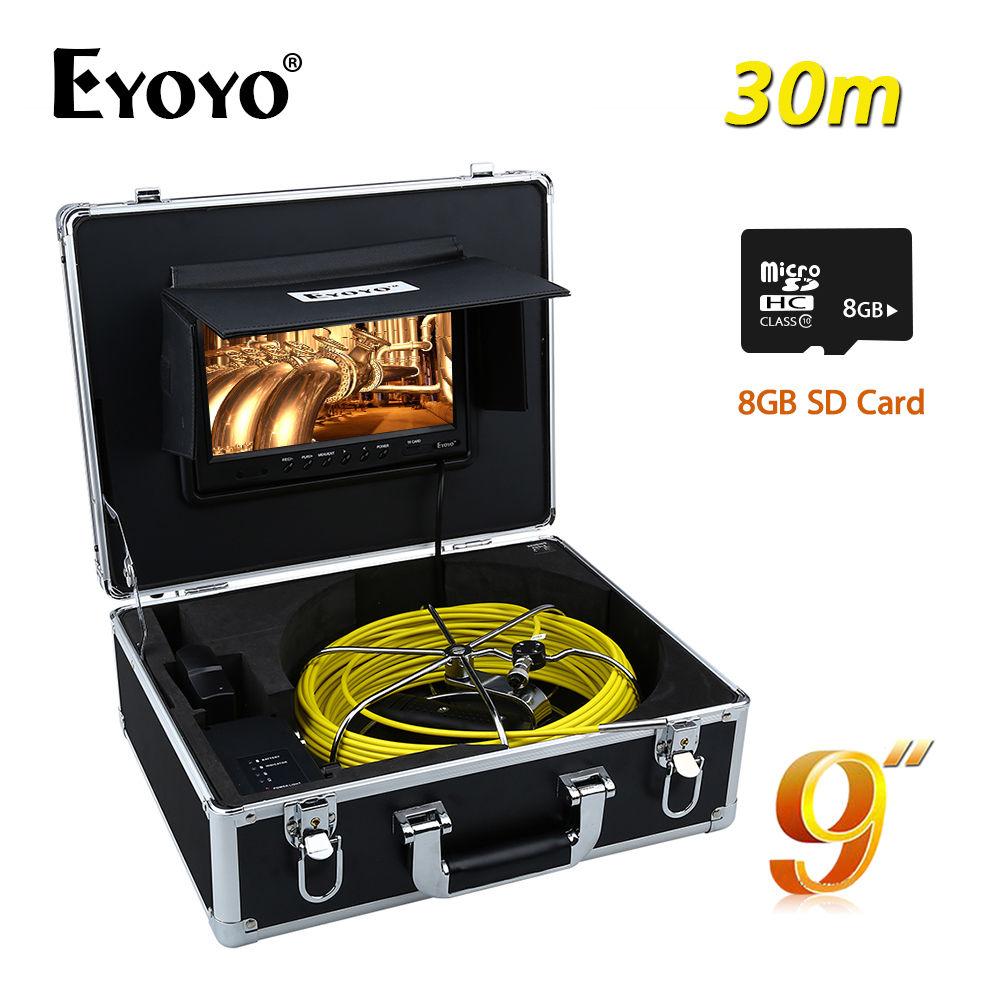 Eyoyo WP90A9 30M HD CCTV TFT 9 LCD CMOS DVR 1000TVL 7mm Sewer Video Camera Pipe Pipeline Drain Inspection Cam + 8GB SD Card