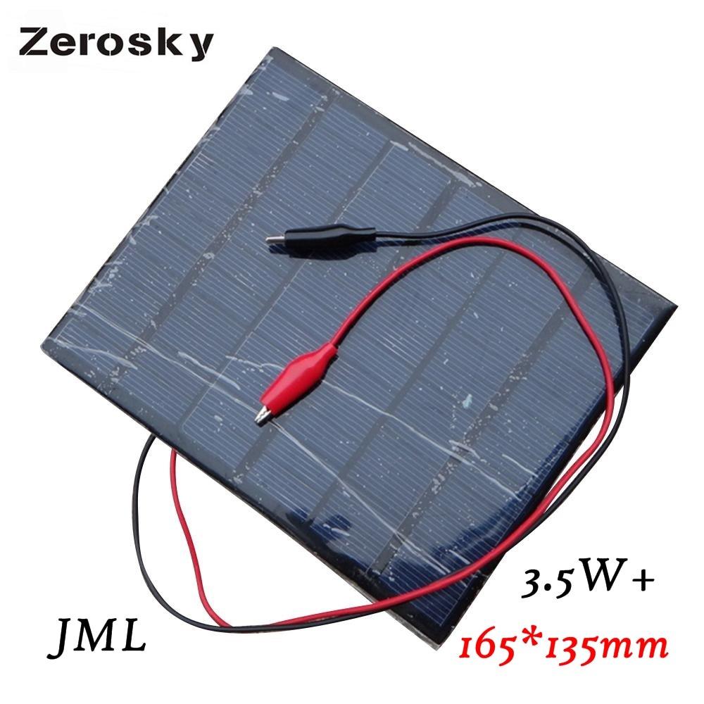 Zerosky High Quality 6V 4.5W 520mAh Monocrystalline silicon Mini Solar Panel Module Cell For Light Battery 165x165mm