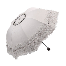 Women's Princess Dome/Birdcage Sun/Rain Folding Umbrella For Wedding Lace Trim beige