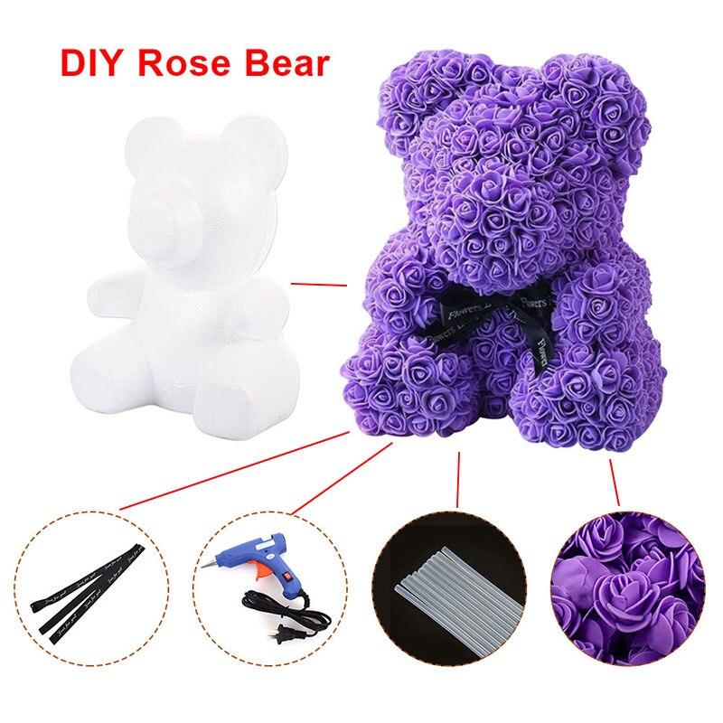 Искусственные цветы розы Медведь собака кролик Мопс юбилей день Святого Валентина подарок на день рождения мать подарок Свадебная вечеринка украшение - Цвет: Purple bear DIY Kit