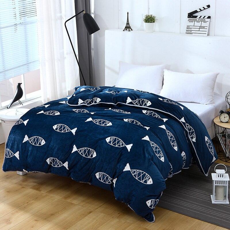 Simple Fashion Dark Blue + White Fish Pattern Superfine Fiber Fashion Quality Bedding Duvet Cover 1 Piece Quilt Cover Bedspread