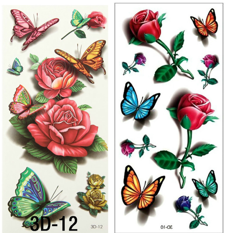 2pcs 3d rose tattoo body art chest sleeve stickers glitter for Removal of temporary tattoos