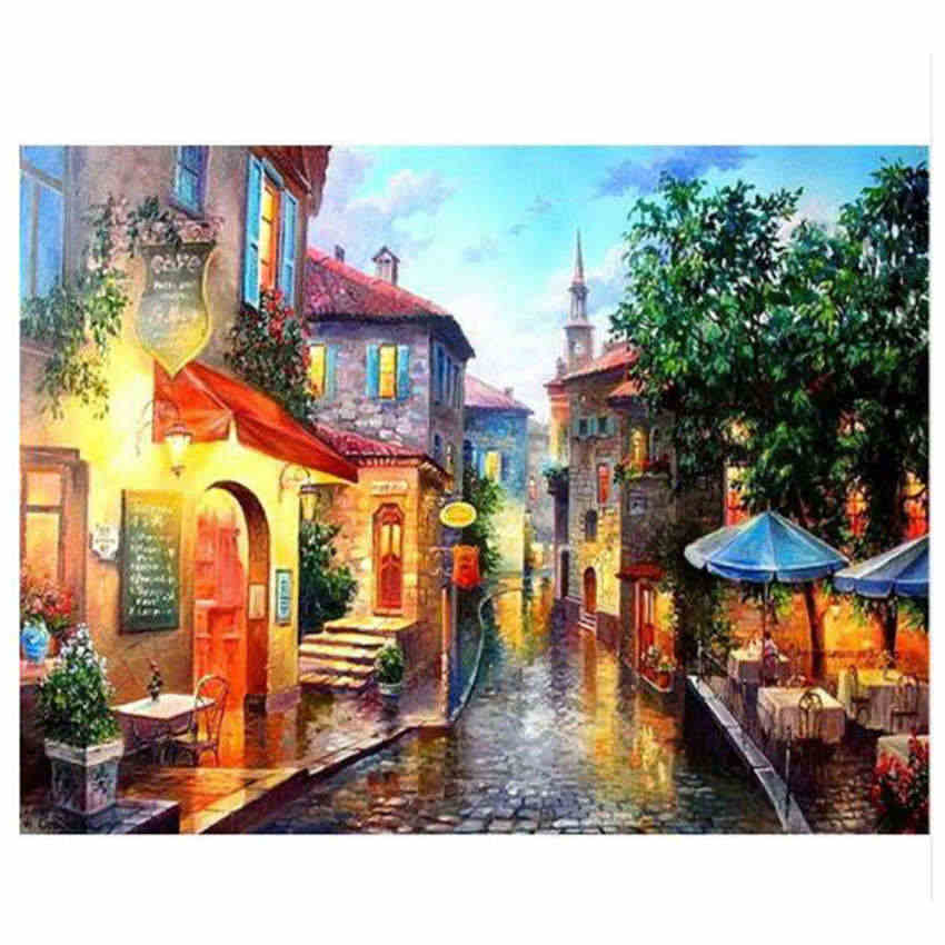 Home Decoration Nordic Style,Quiet Street,Oil Painting By Numbers,Paintings Numbers