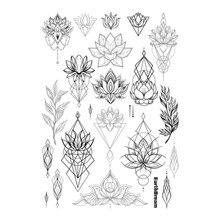 Waterproof Temporary Fake Tattoo Stickers Vintage Black Grey Geometric Lotus Floral Big Design