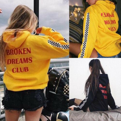 Women Autumn Winter Fashion Women Broken Dreams Balck Yellow Cool Letter Club Race Hoodie Pullover Long-sleeved Loose Sweater