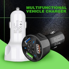 Newest Car Charger For Smart Phone 3A 3-Port USB QC3.0 Fast Charging Type C Micro for Cell Black White