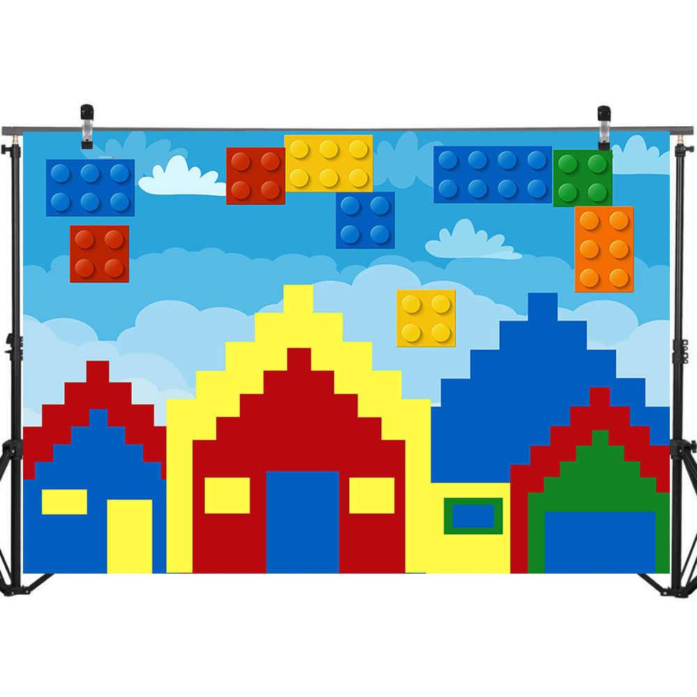 NeoBack Lego Brinquedo Casa de Fundo Colorido Da Foto do Aniversário Crianças Festa De Aniversário crianças Cenários de Fotografia Para Estúdio de Fotografia