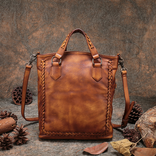 Handmade Natural Leather Ladies Handbags 2018 Latest Woven Leather Shoulder  Sling Bag Women Folding Messenger Crossbody c6deecad02fae