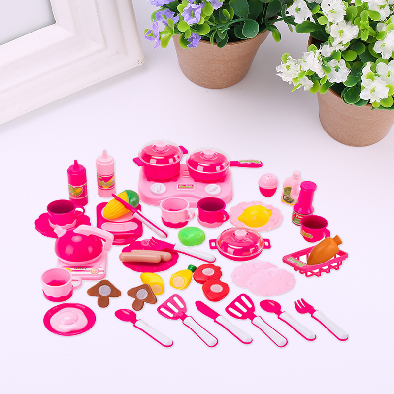 40Pcs/Set Kitchen Toy Utensils Cooking Cutting Toy Fruit Pretend Kids Fun Gifts